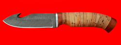 """Охотничий нож """"Скиннер-1"""", клинок дамасская сталь, рукоять береста"""