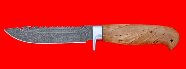 """Нож """"Рыбацкий-3"""", клинок дамасская сталь, рукоять карельская берёза, усиленная гарда"""