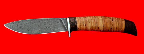 """Нож """"Рыбка-2"""", клинок дамасская сталь, рукоять береста"""