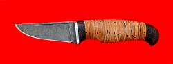 Нож Клык, клинок дамасская сталь, рукоять береста
