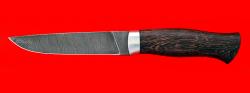 Охотничий нож Леопард, клинок дамасская сталь, рукоять венге