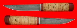 Охотничий нож Якутский средний, клинок дамасская сталь, рукоять береста
