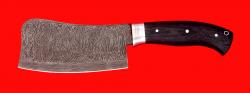 Нож Тяпка, цельнометаллическая, клинок дамасская сталь, рукоять венге