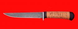 Нож Засапожный №1 магнум, клинок дамасская сталь, рукоять береста