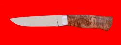Охотничий нож Леопард, клинок порошковая сталь ELMAX, рукоять карельская берёза