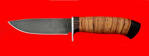 """Охотничий нож """"Панда-2"""", клинок дамасская сталь, рукоять береста-венге"""