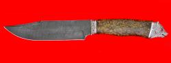 """Охотничий нож """"Промысловый большой"""", клинок дамасская сталь, рукоять стабилизированная кап (цвет желто-коричневый), мельхиор"""