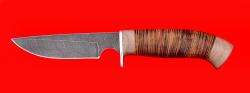 Охотничий нож Медведь, клинок дамасская сталь, рукоять кожа