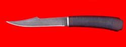 Нож Охотник, клинок дамасская сталь, рукоять кожа-венге