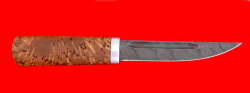 Охотничий нож Якутский средний, клинок дамасская сталь, рукоять стабилизированная карельская берёза (цвет натуральный)