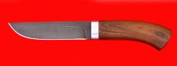 Охотничий нож Олень, клинок дамасская сталь, рукоять орех