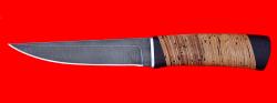 Охотничий нож Секач, клинок дамасская сталь, рукоять береста