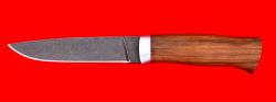 Охотничий нож Леопард, клинок дамасская сталь, рукоять орех