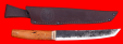 """Нож """"Самурай большой"""", цельнометаллический, ручная ковка, клинок сталь 9ХС, рукоять стабилизированная карельская береза (цвет натуральный), латунь"""