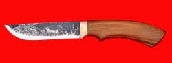 Охотничий нож Грибник, ручная ковка, клинок сталь 9ХС, рукоять орех