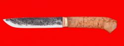 """Нож """"Карачаевский"""" (""""Бычак""""), ручная ковка, клинок сталь 9ХС, рукоять карельская берёза"""