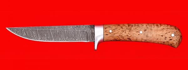 """Нож """"Засапожный №1"""", цельнометаллический, клинок дамасская сталь, рукоять карельская берёза"""