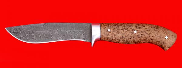 """Охотничий нож """"Вальдшнеп-2"""", цельнометаллический, клинок дамасская сталь, рукоять карельская берёза"""