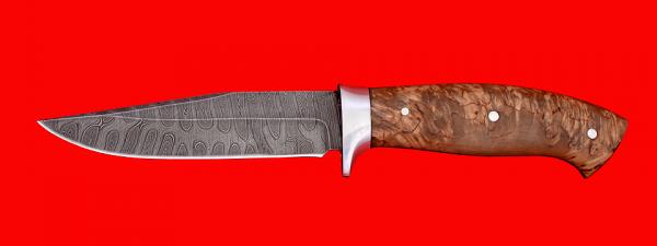 """Нож """"Сокол"""", цельнометаллический, клинок дамасская сталь, рукоять карельская берёза"""