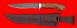 """Нож """"Багира"""", цельнометаллический, клинок дамасская сталь, рукоять карельская берёза"""