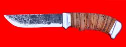 Охотничий нож Грибник, ручная ковка, клинок сталь 9ХС, рукоять береста, люкс