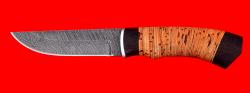 Охотничий нож Бурундук, клинок дамасская сталь, рукоять береста