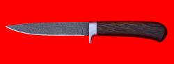 Нож Засапожный №2, клинок дамасская сталь, рукоять венге