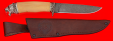 """Охотничий нож """"Леопард"""", клинок дамасская сталь, рукоять самшит, мельхиор"""