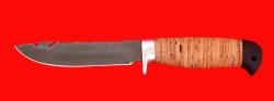 Нож Рыбацкий-3, клинок сталь D2, рукоять береста, усиленная гарда