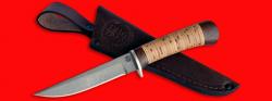Нож Засапожный №1, клинок сталь D2, рукоять береста