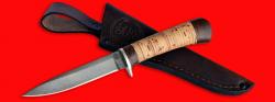 Нож Засапожный №2, клинок сталь D2, рукоять береста