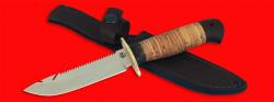 Нож Рыбацкий-4, клинок порошковая сталь ELMAX, рукоять береста, с гардой