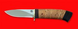 Охотничий нож Сурок, клинок порошковая сталь ELMAX, рукоять береста