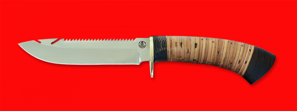 """Нож """"Рыбацкий-2"""", клинок порошковая сталь ELMAX, рукоять береста, с гардой"""