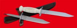 Нож разведчика НР-43 Вишня, разборный, два клинка из стали У8 + ELMAX, рукоять пластмасса (цвет белый)