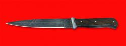 Немецкий пехотный нож обр. 1942 года, клинок дамасская сталь, рукоять орех