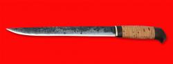 """Нож """"Карелия №5"""", ручная ковка, клинок сталь 9ХС, рукоять береста"""