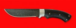 Охотничий нож Грибник, цельнометаллический, клинок дамасская сталь, рукоять венге, отверстие под темляк