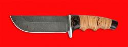 Нож Тигр, клинок дамасская сталь, рукоять береста