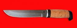 Охотничий нож Скандинавский большой, клинок сталь D2, рукоять береста