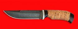 Охотничий нож Классик, клинок дамасская сталь, рукоять береста