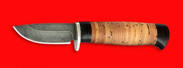 """Охотничий нож """"Воробей"""", клинок дамасская сталь, рукоять береста"""