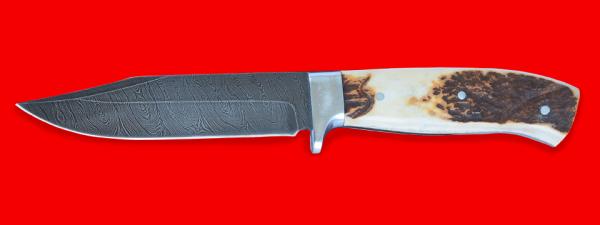"""Нож """"Гюрза"""", цельнометаллический, клинок дамасская сталь, рукоять лосиный рог"""