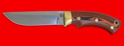 """Охотничий нож """"Грибник"""", цельнометаллический, клинок порошковая сталь ELMAX, рукоять G10 (цвет черно-оранжевый), фигурные штифты"""