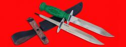 Нож разведчика НР-43 Вишня, разборный, два клинка из стали У8 + ELMAX, рукоять пластмасса