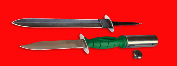 """Нож разведчика НР-43 """"Вишня"""", разборный, клинок сталь У8, рукоять пластмасса + клинок кинжала (дамаск) + крепление для древка"""