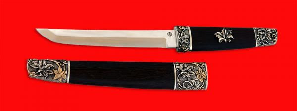 """Нож """"Самурай большой"""", клинок порошковая сталь ELMAX, рукоять венге, деревянный чехол, мельхиор, позолота"""