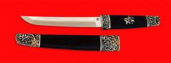 Нож Самурай большой, клинок порошковая сталь ELMAX, рукоять венге, деревянный чехол, мельхиор, позолота