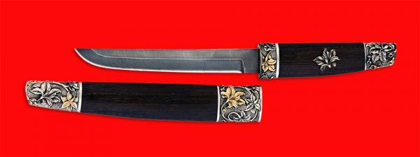 """Нож """"Самурай большой"""", клинок дамасская сталь, рукоять венге, деревянный чехол, мельхиор, позолота"""