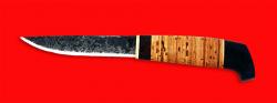 Нож Карелия №2, ручная ковка, клинок сталь 9ХС, рукоять береста